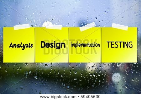 Software Process Sticky Paper On Glass With Drops Water Background