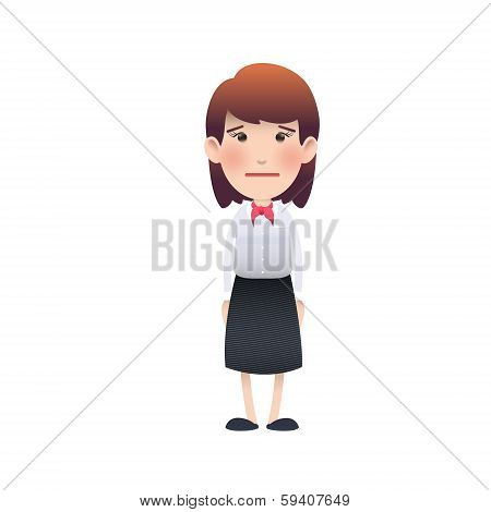 Young Woman Surprised Over White Background. Vector Design.