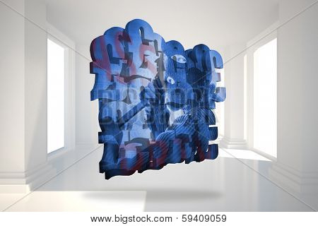 Burglar on abstract screen against digitally generated room