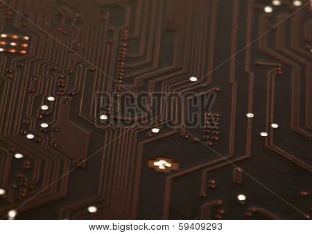 Laptop Motherboard Dark Brown Circuit Background