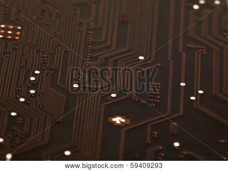Laptop Motherboard Dark Brown Circuit Background