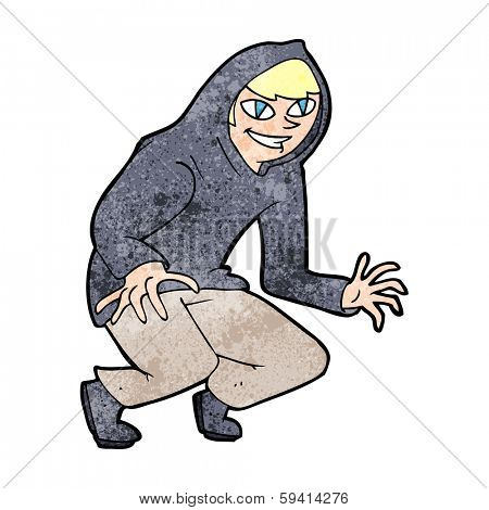 cartoon mischievous boy in hooded top