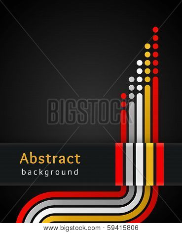 Colored Stripes On Black Background, Vector