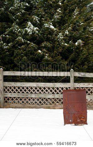 Burn Barrel In The Snow