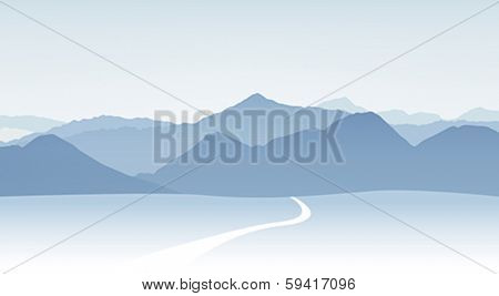 Vector illustration of winter mountain panorama