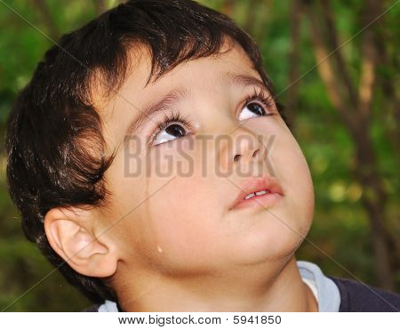 Very Cute Kid Crying With True Emotional Tears
