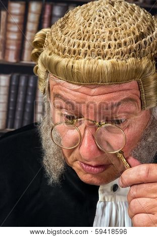 Vintage eyeglasses or lorgnette worn by an old judge