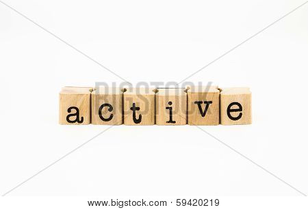 Active Wording Isolate On White Background