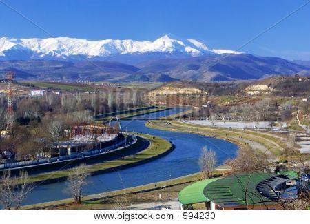 View of river Vardar in Skopje