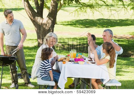 Father at barbecue grill with extended family having lunch in the park