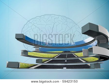 Road on abstract screen against faint brain on blue background