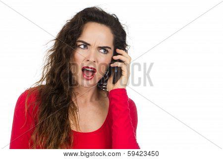 Annoyed Angry Woman Talking On The Phone
