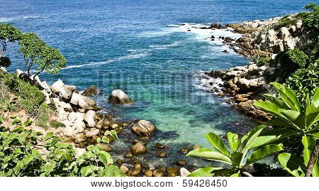 fantastic rocky inlet of the Bay of acapulco