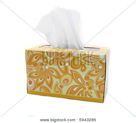 Isolated Yellow And Orange Box Of Tissues