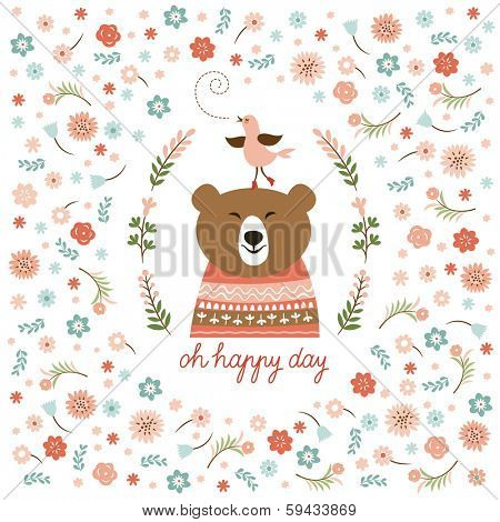 cute bear and little bird, vector illustration