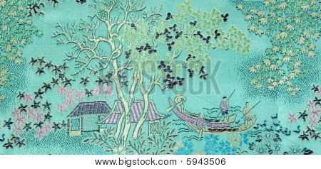 Background Landscape On  Silk Fabric
