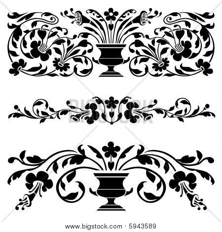 Set of vector old ornaments