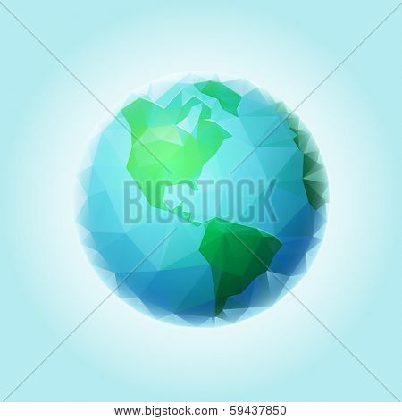 Vector polygonal world sphere. All elements are layered separately in vector file.