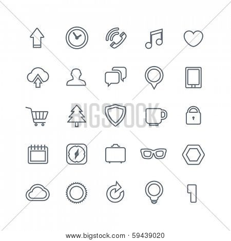 Different web icons collection isolated on white