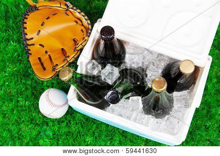 Ice chest full of drinks in bottles on grass background
