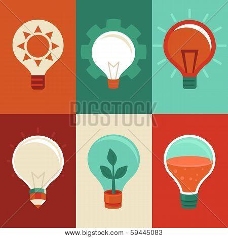 Idea And Innovation Concepts - Flat Light Bulbs