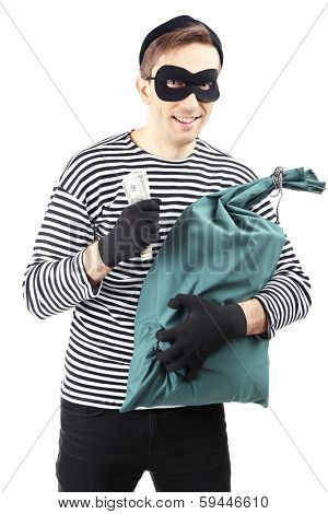 Thief with bag, isolated on white