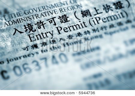 Entry Permit Of Hong Kong