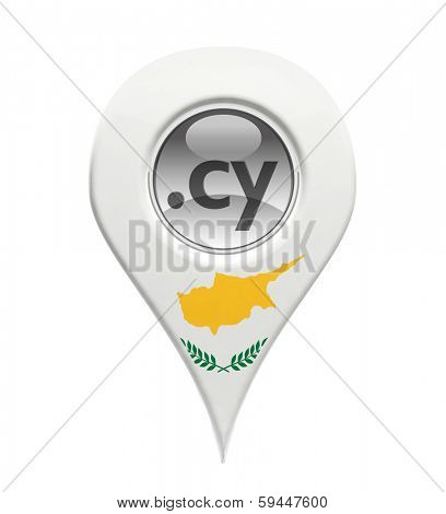 3D pin domain marker with Cypriot flag isolated