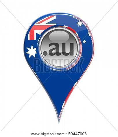 3D pin domain marker with Australian flag isolated