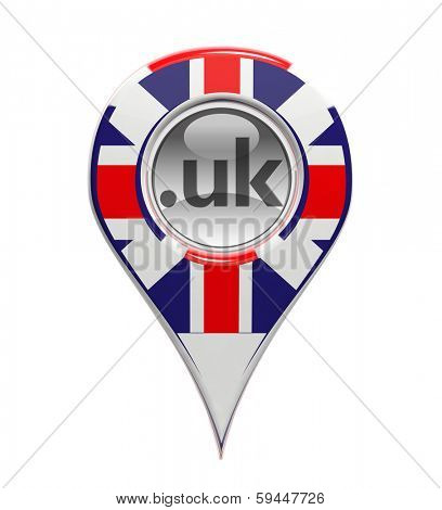 3D pin domain marker with United Kingdoms flag isolated