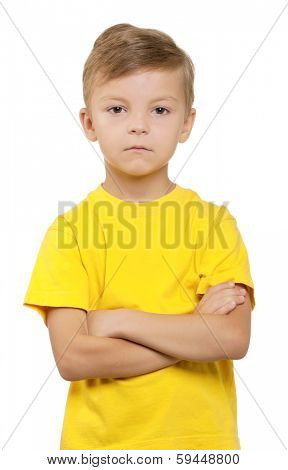 Portrait of little boy over white background