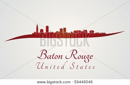 Baton Rouge Skyline In Red