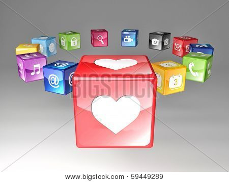 love and smart colorful icons