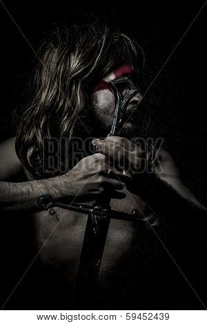 Armor.savage warrior with iron sword