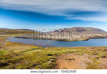 Selvallavatn, a vulcanic lake in Snaefellsnes peninsula, Iceland.