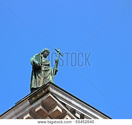 Statue Of A Preacher On The Roof Of St. Isaac's Cathedral In St. Petersburg