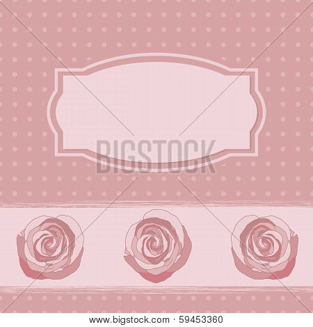 Pink  Frame With Roses