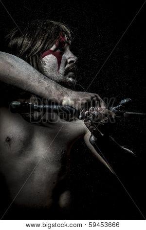 British savage warrior with iron sword