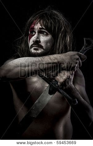 Iron.fighter with sword, medieval warrior mandoble