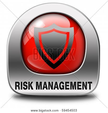 Risk management or assessment icon safety first security and safe red sign