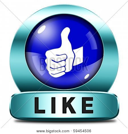 like and follow us thumbs up blue icon or button
