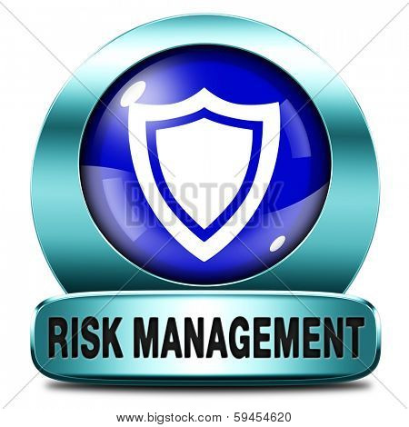 Risk management or assessment blue icon safety first