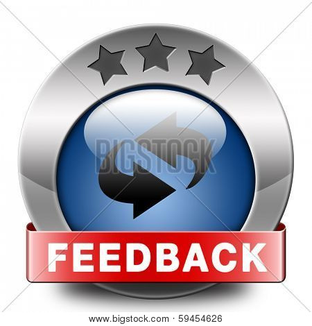 feedback or testimonials icon. Publical comments for improvement and customer satisfaction button