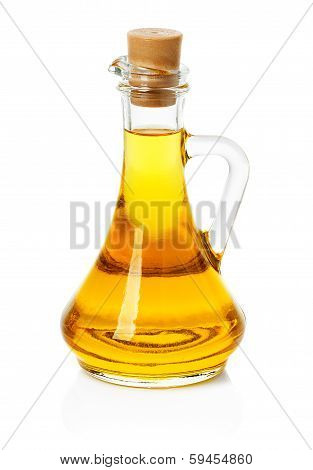 Jar, Decanter With Olive Or Sunflower Oil Isolated On The White Background