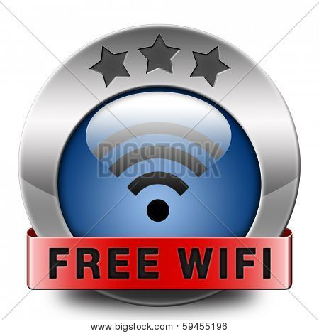 free wifi spot area and internet access icon or button