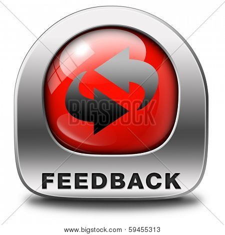 feedback or testimonials red icon or button. Publical comments for improvement and customer satisfaction