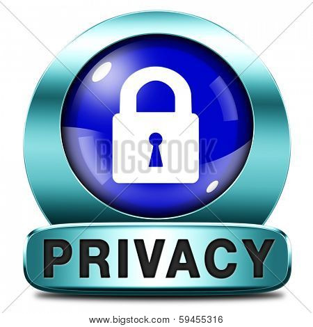 privacy button protection of personal online data or confidential information, password protected info icon