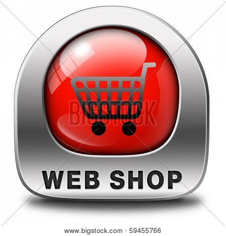 web shop icon or buy online shopping sign for internet webshop or store