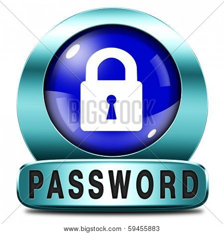 password protected icon data protection by using strong safe passwords recover and change for security and safety