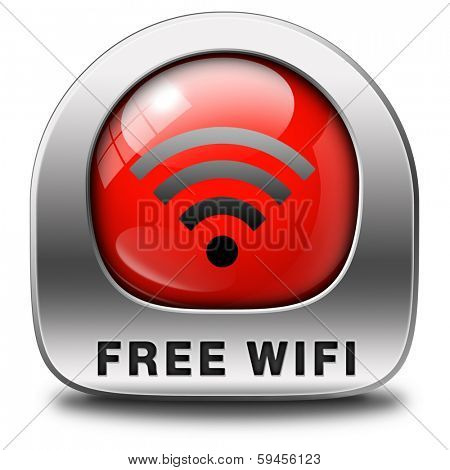 free wifi area sign and internet access icon or button
